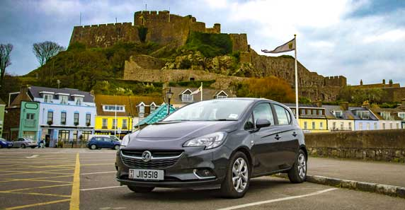 Europcar Jersey car at Mont Orgueil Castle, Gorey